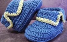 Sapatinho de Bebê Azul Feito de Crochê – Dicas de Modelos e Vídeo de Como Fazer