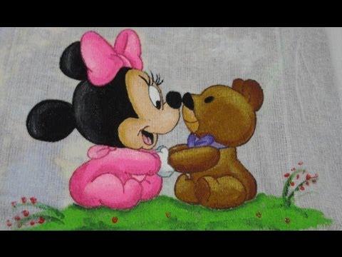 Pintura-tecido-minnie -urso