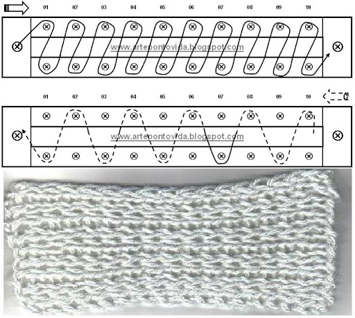 Long Loom Knitting Stitches With Pictures : Tecnica Tear Para Iniciantes - Dicas, Graficos e Video