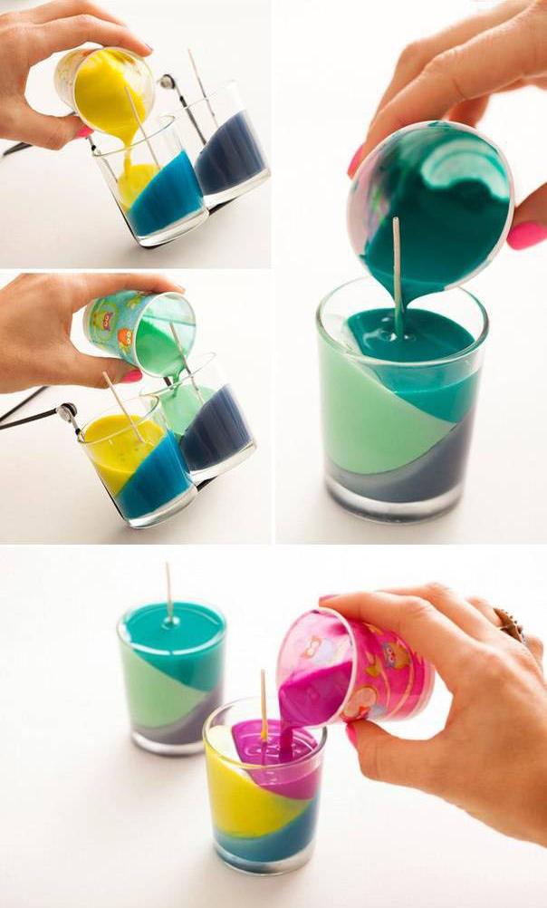 Velas decorativas coloridas como fazer for Como hacer velas aromaticas en casa