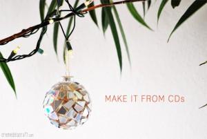Bolas de Natal Decorada com CD  – Como Fazer