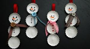 Boneco de Neve Feito de Tampas de Garrafas – Como Fazer
