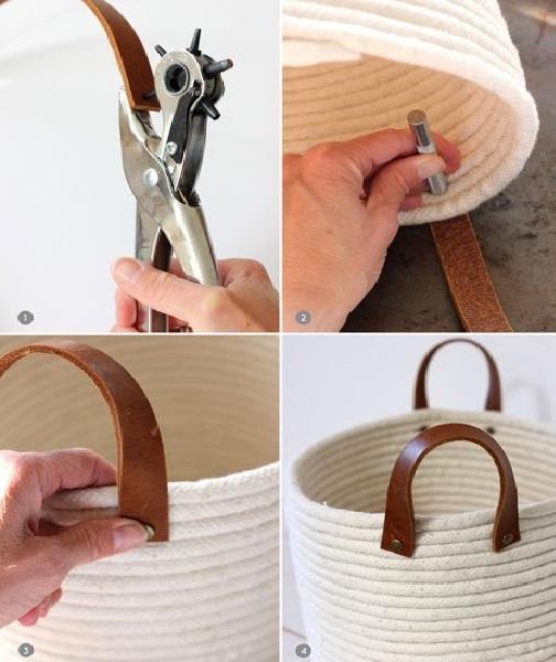 Cesto de cordas oval alças
