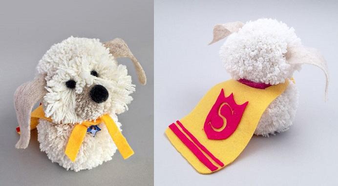 Cachorro de Pom Pom de Lã  capa