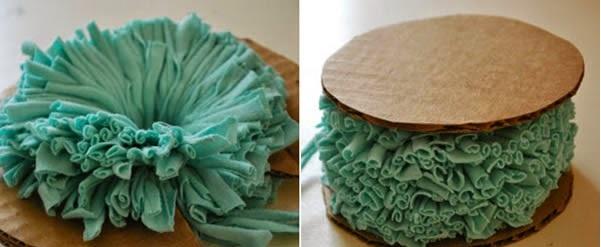 Pompom colorido de tecido-