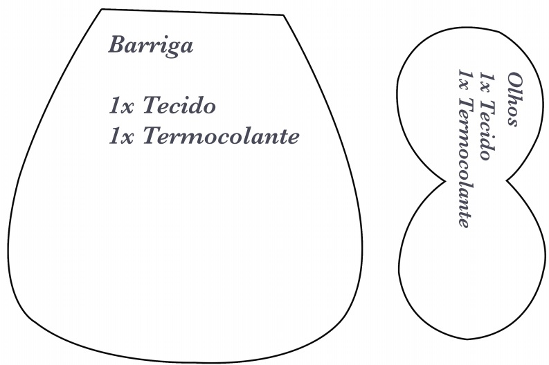 Peso de Porta Corujinha de Tecido -molde barriga