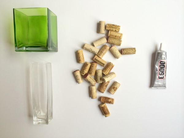 Vaso Customizado Com Rolhas de Cortiça material