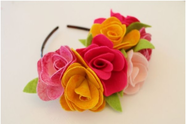 Arco de Cabelo Decorado Flores de Feltro - Como Fazer