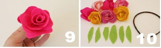 Arco de Cabelo Decorado Flores de Feltro  ba