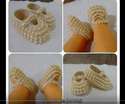 Sapatinhos Bebê Crochê Com Pérolas - Como Fazer