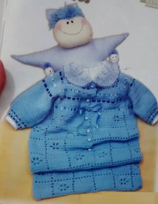 Porta bebe azul croche- Como Fazer