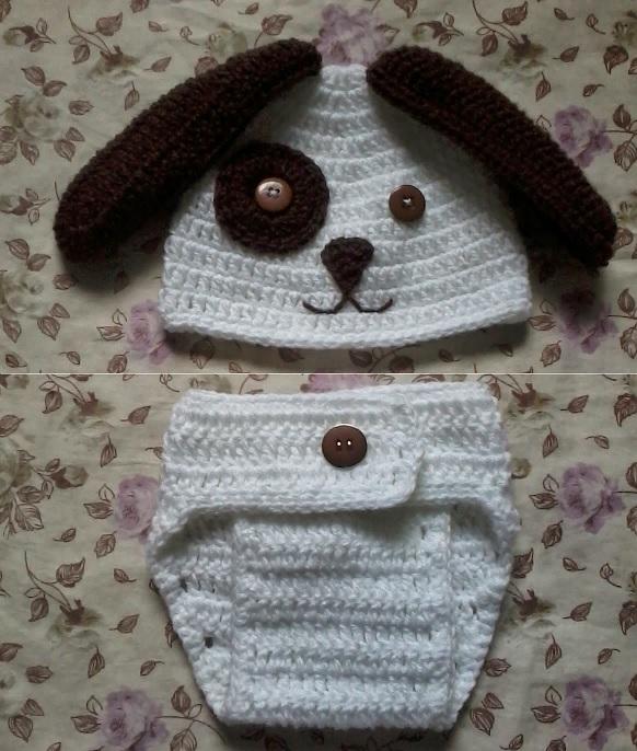 Touca e Tapa Fraldas Cachorrinho crochet