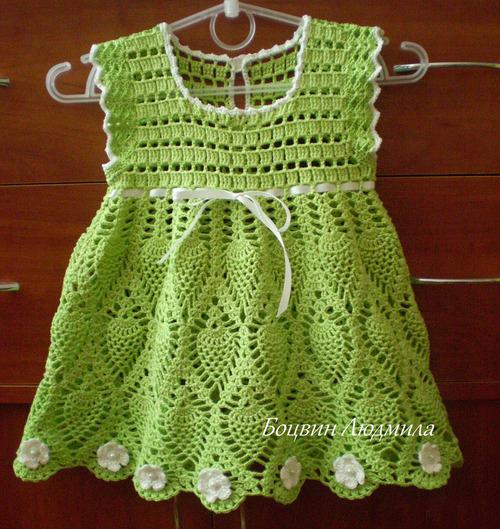 vestido croche verde
