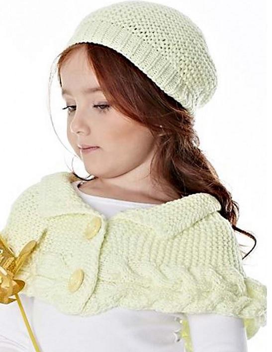Boina e Mini Poncho em trico - como fazer
