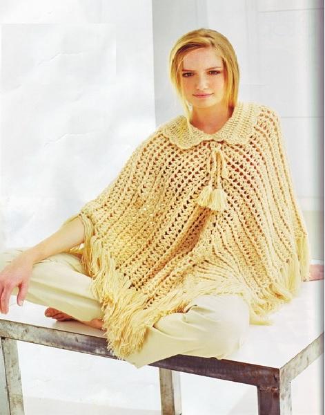 Poncho Amarelo em Croche Gola - Receita