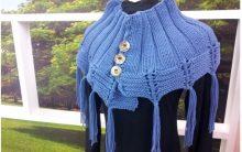 Poncho Azul Em Tricô – Material e Como Fazer