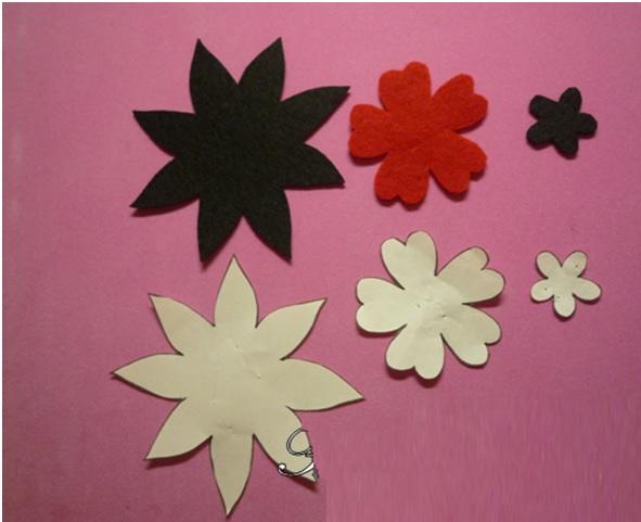 Flor em Feltro - Moldes