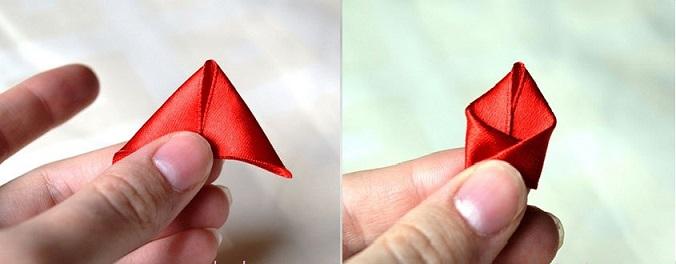 Rosa Em Duas Cores de Cetim triangulos