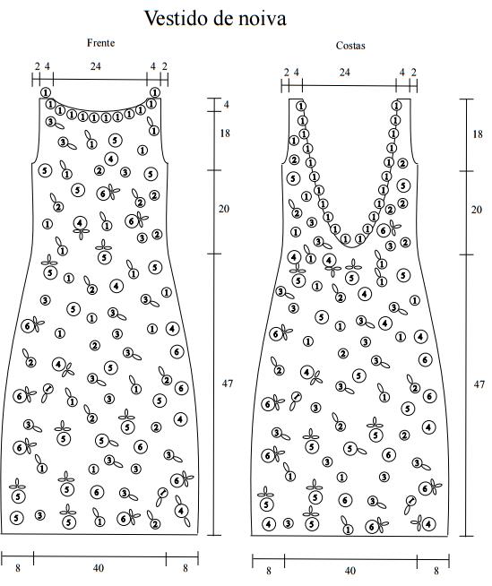 Vestido de noiva crochê grafico