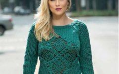 Blusa de Tricô Verde Com Centro de Crochê– Material e Receita