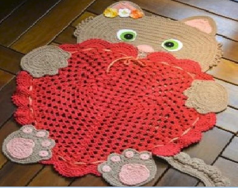 Tapete Gato Amoroso Em Croch 234 Material E Receita
