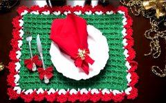 Sousplat Quadrado Natal Em Crochê – Material e Vídeo