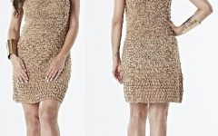 Vestido Bege Manga Curta Crochê – Material e Receita