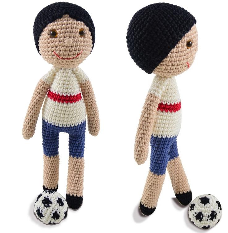 Artesanato Lembrancinhas Passo A Passo ~ Amigurumi Jogador de Futebol Croch u00ea Material e Receita Bigtudo Artesanato